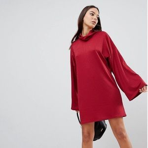 PrettyLittleThing oversized ribbed red dress